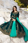 Dark Mehandi and Peach Silk Anarkali Suit