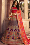 Violet and Scarlet Red Silk Lehenga Choli