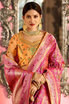Peach and Mustard Embroidered Designer Banarasi Silk Saree