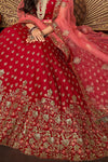 Red and Pink designer party wear Lehenga set