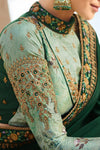 Basil and Mint Green Embroidered Designer heavy Silk Saree