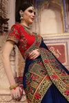 Admiral Blue and Candy Red Embroidered Designer Silk Saree