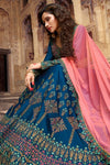 Sapphire Blue and Pink Party Wear Lehenga Choli