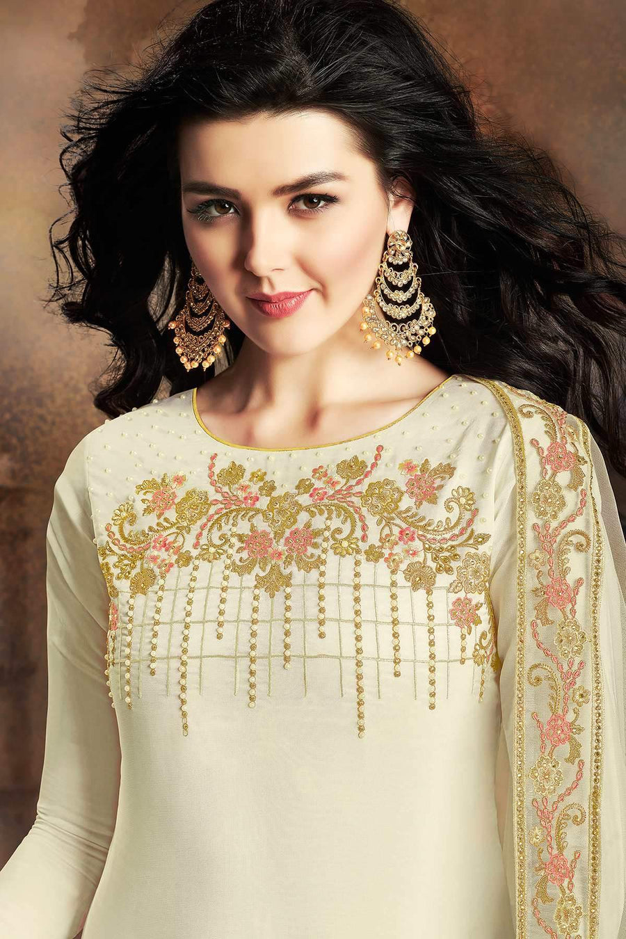 White Designer Embroidered Silk Sharara Suit