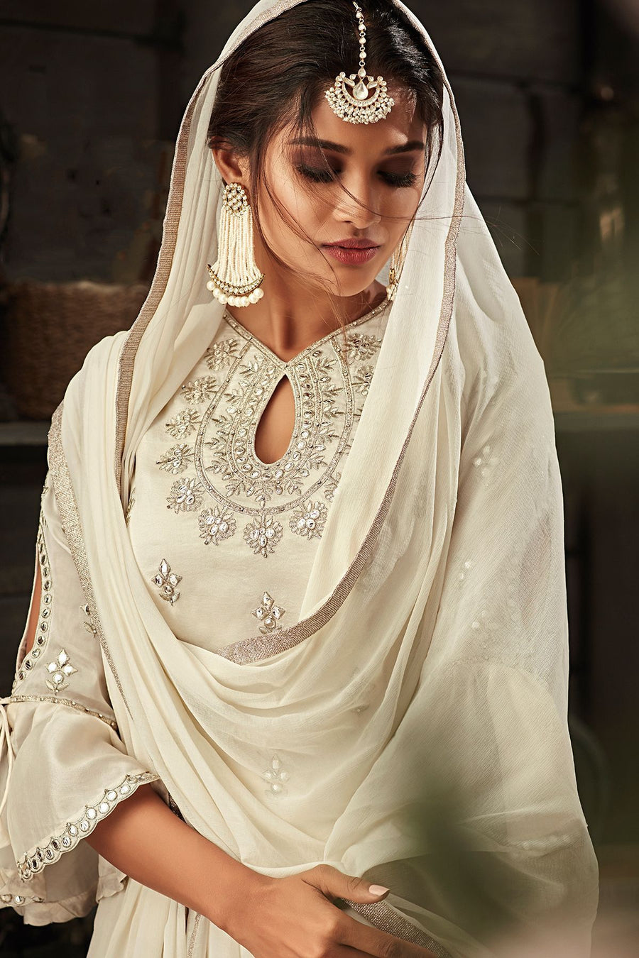 White Embroidered Party Wear Palazzo Suit