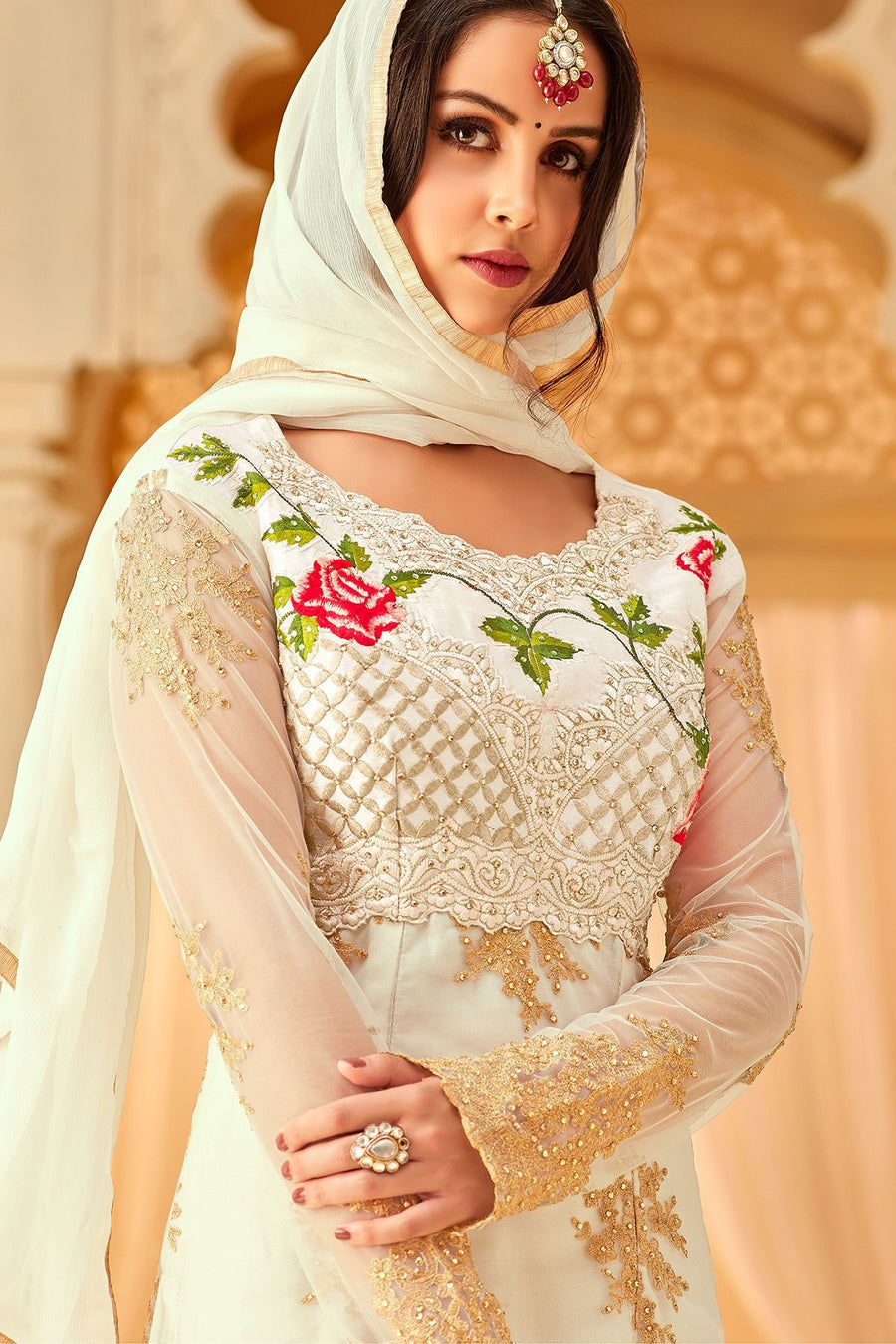 White Net Embroidered Palazzo Suit