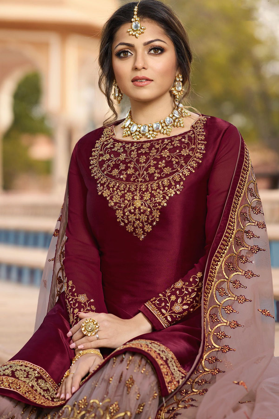 Wine and Levender Embroidered Sharara Suit