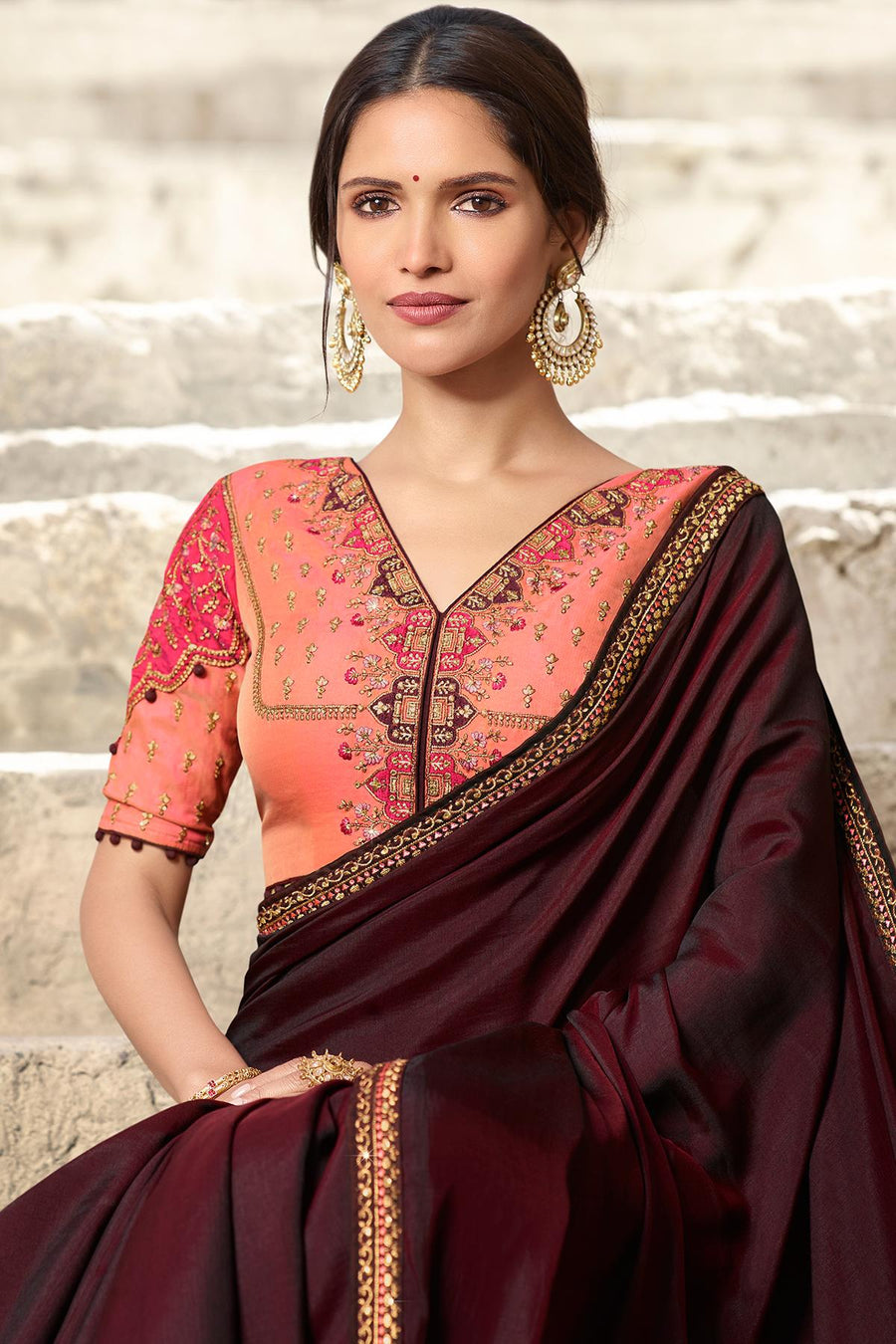 Wine And Peach Designer Silk Sari