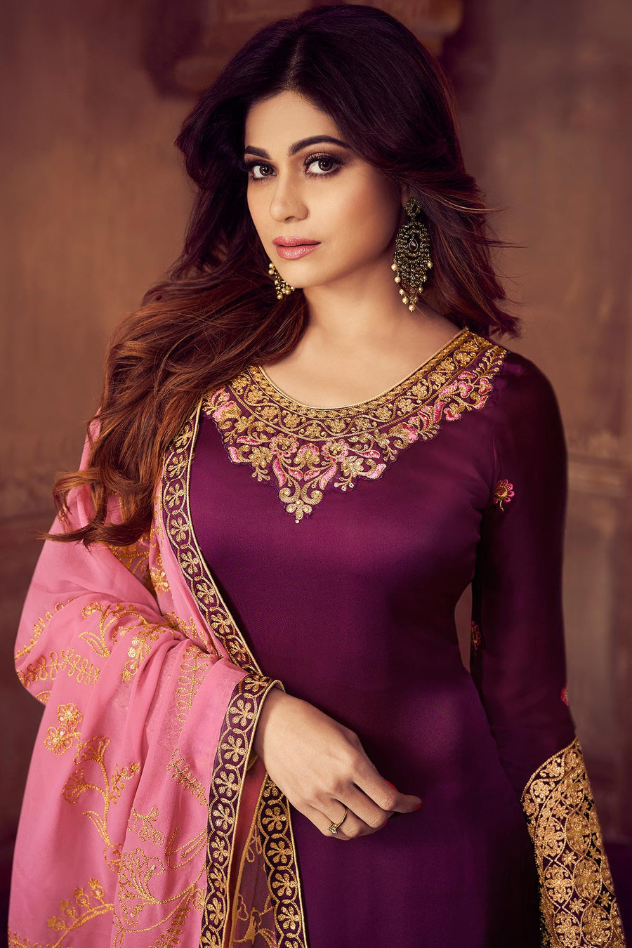 Wine And Pink Georgette Sharara Suit
