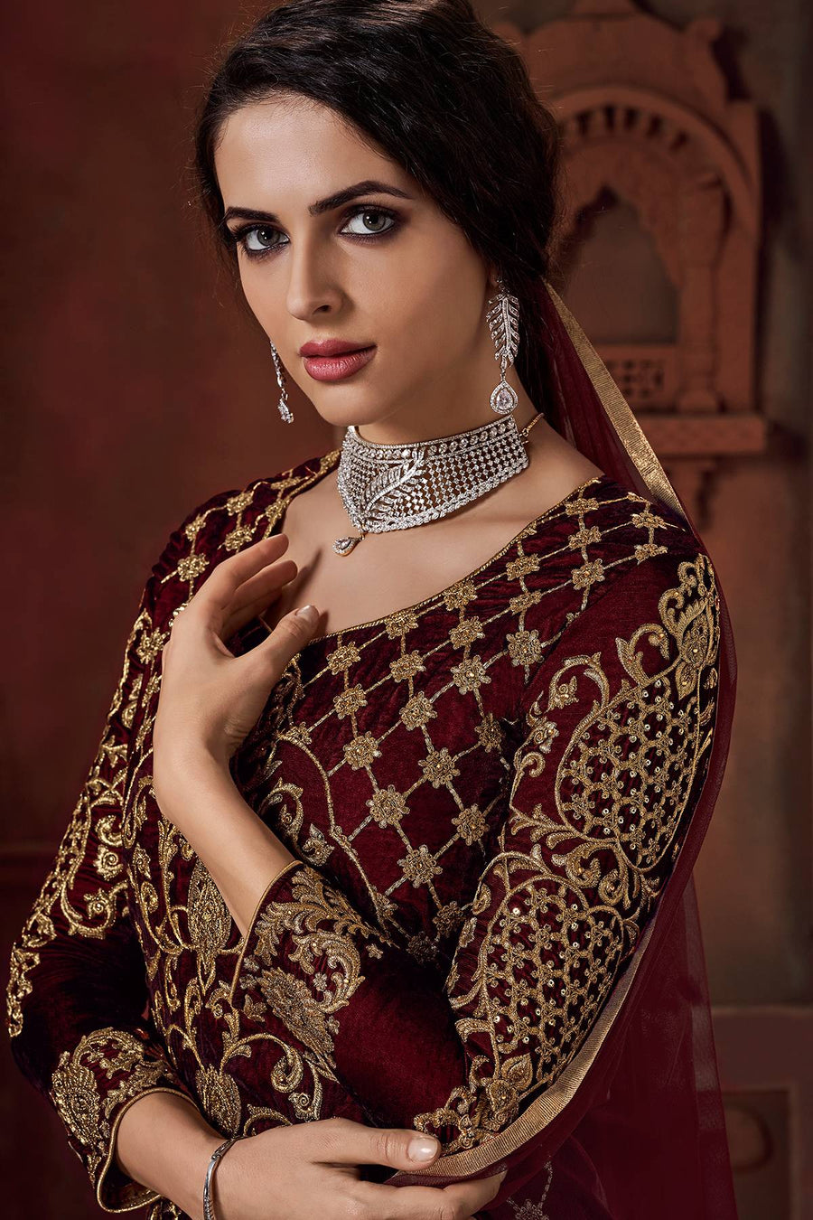 Wine and Red Velvet Designer Velvet Lehenga Suit