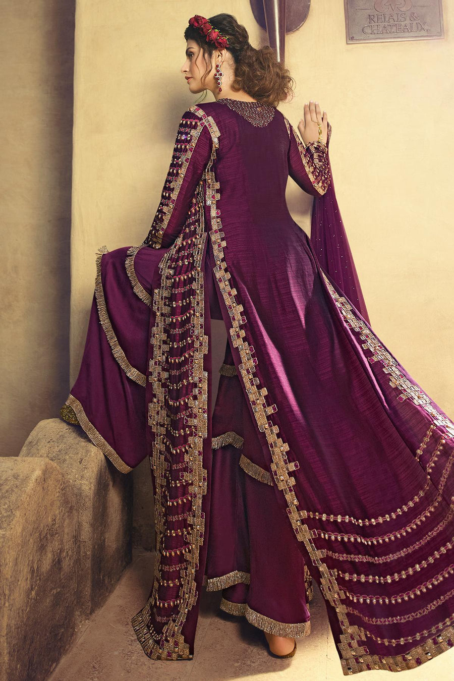 Wine Designer Silk Sharara Suit