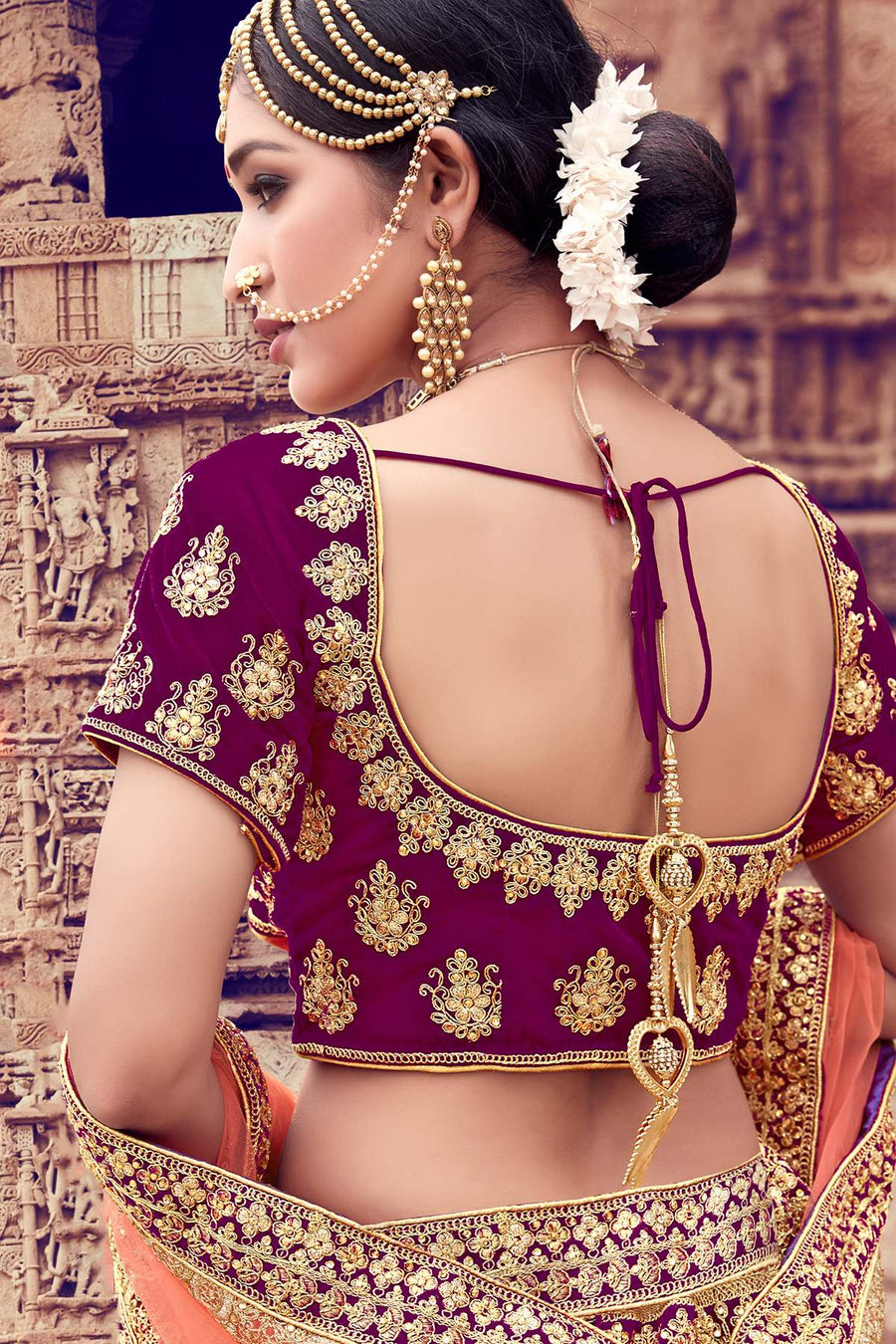 Wine Velvet Bridal Lehenga Choli
