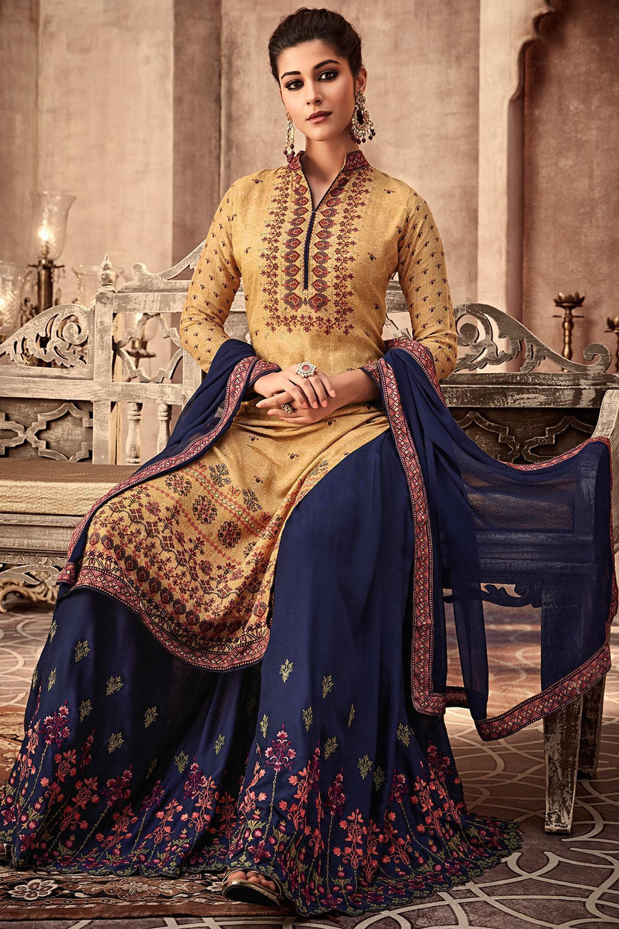 Yellow and Blue Printed Designer Sharara Suit