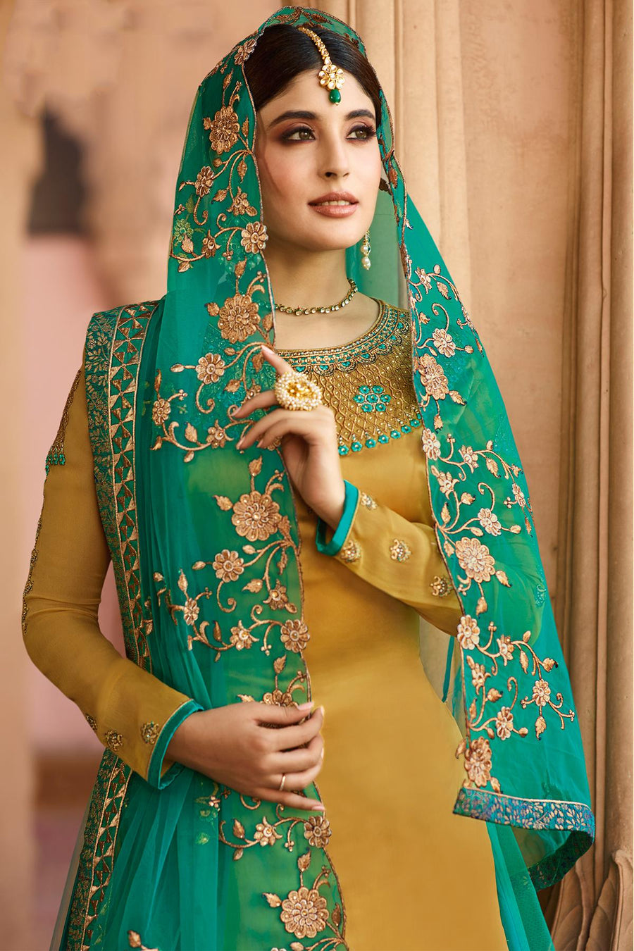 Yellow and Green Georgette Lehenga Style Suit