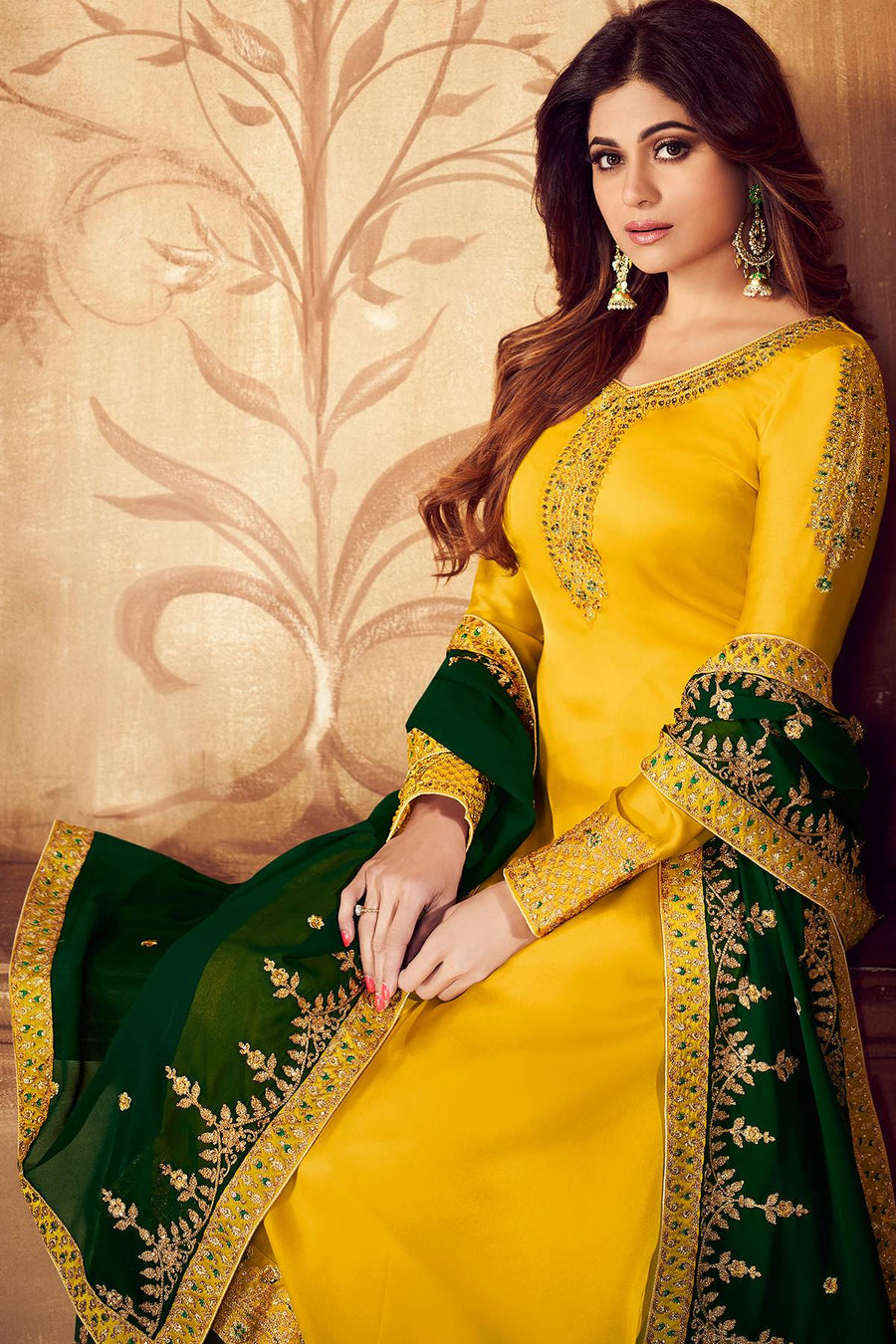 Yellow And Green Georgette Sharara Suit