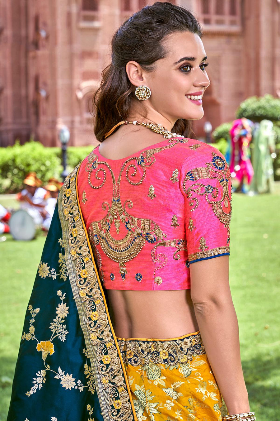 Yellow And Pink Wedding Lehenga Choli Set
