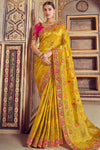 Yellow and Rani Pure Designer Silk Sari