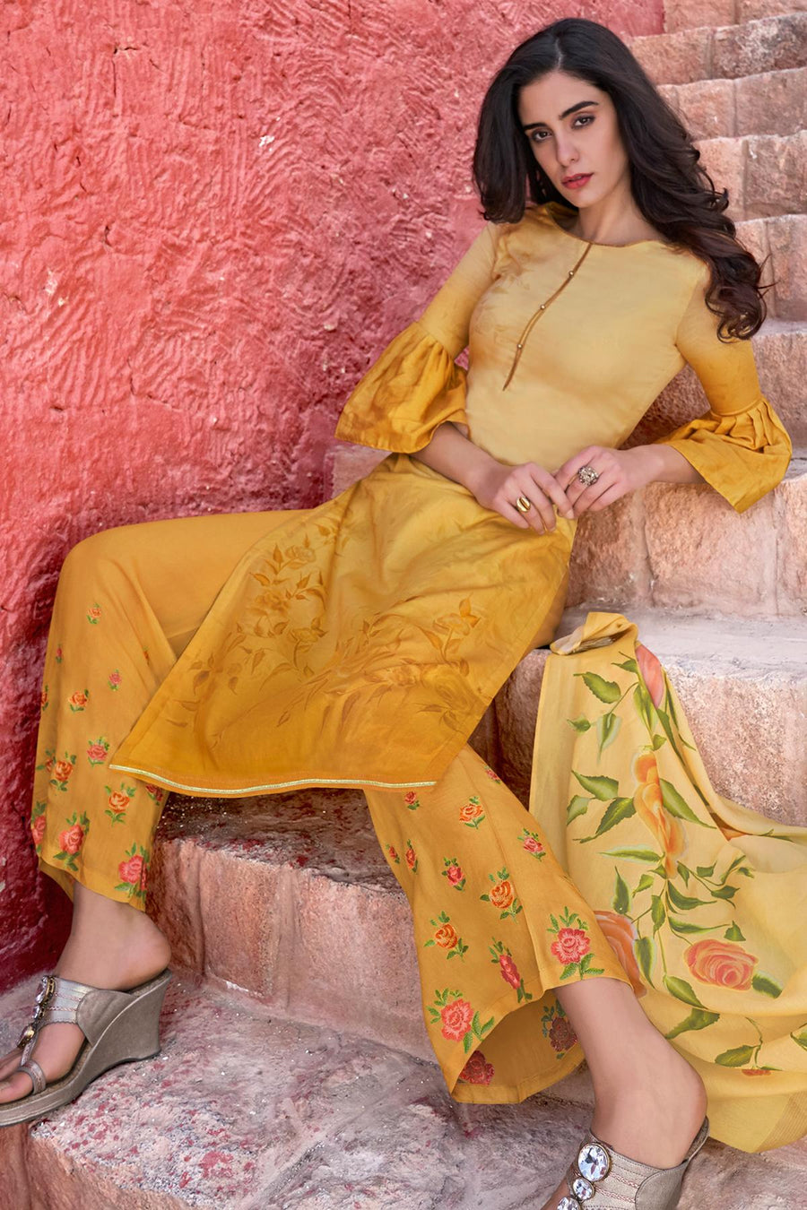 Yellow Casual Cotton Cotton Straight Suit