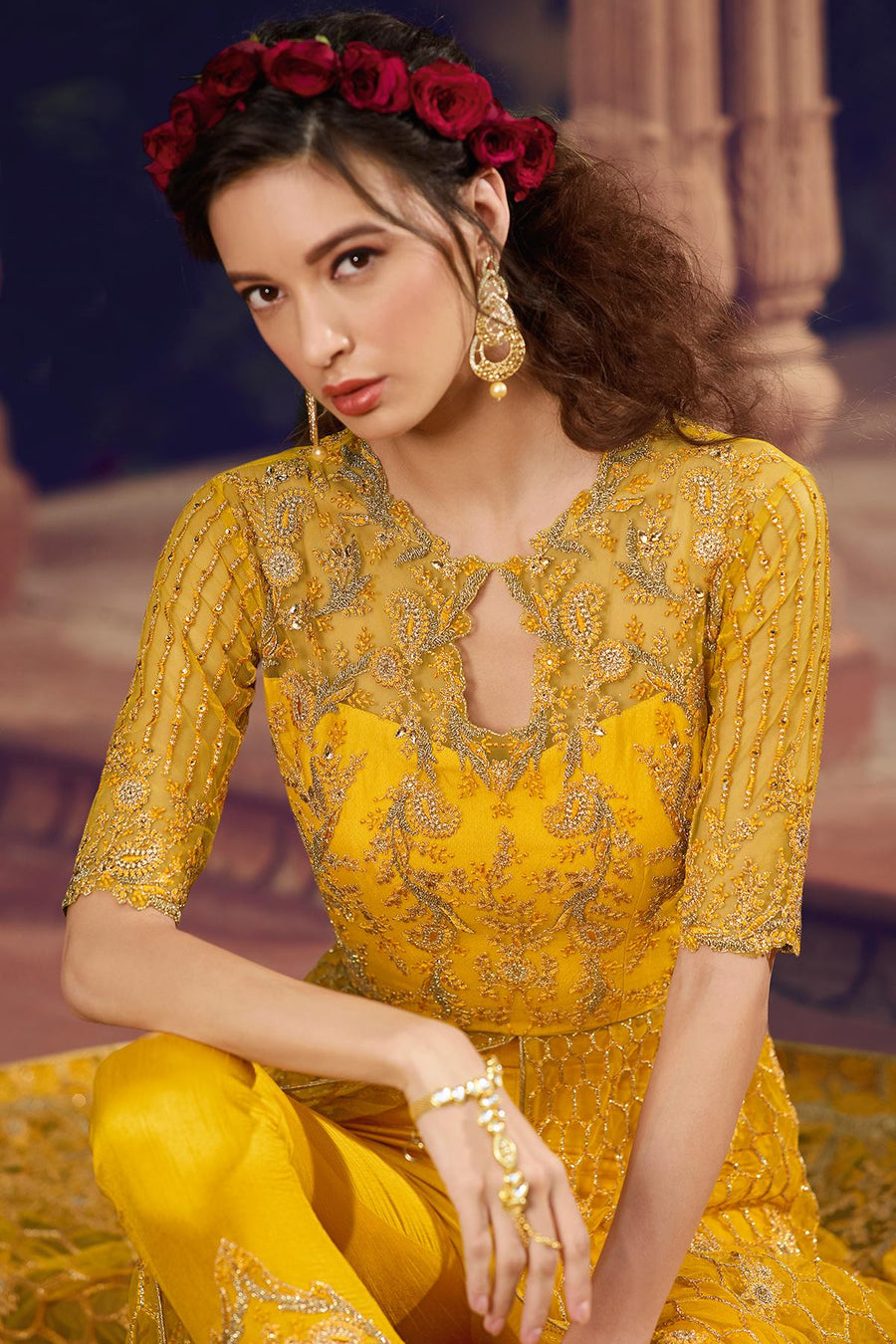 Yellow Designer Butterfly Net Lehenga Style Suit