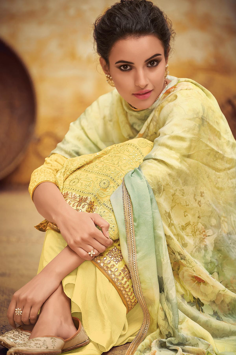 Yellow Designer Georgette Palazzo Suit