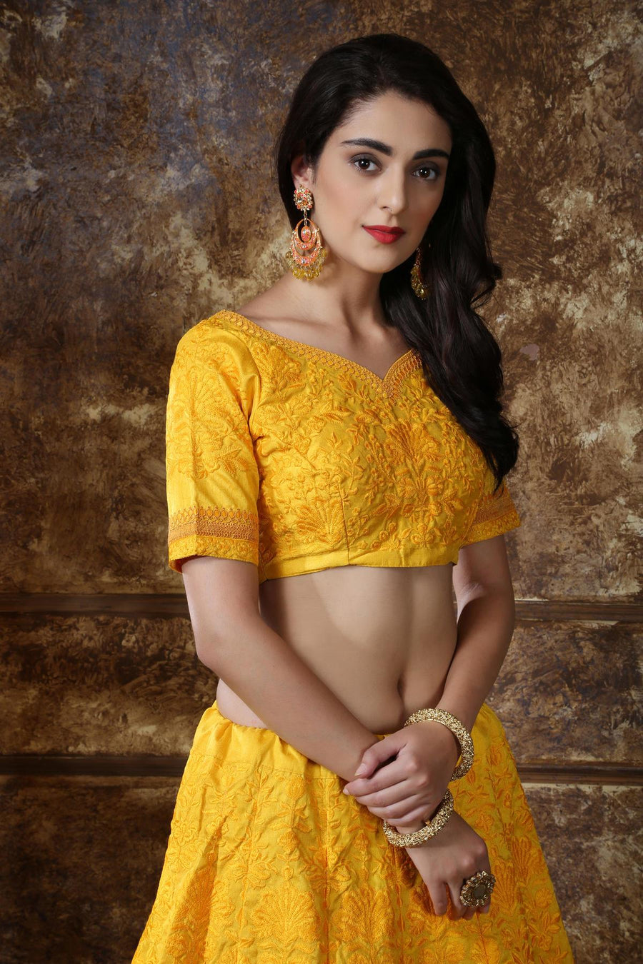Yellow Silk Bridesmaid Lehenga Choli