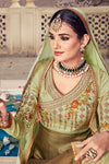 Olive-Green Floor length Party Wear Anarkali Suit