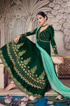 Basil-Green Floor length Party Wear Anarkali Suit
