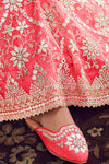 Coral Pink & Off White Net Crop Top Party Wear Lehenga set