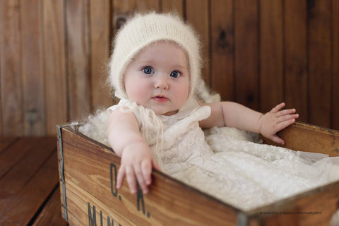 6-12 month Fluffy angora  bonnet knit baby photo prop