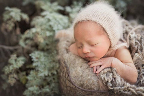 Newborn angora bonnet, newborn photo prop