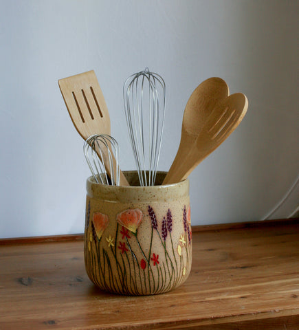 Stoneware Kitchen Utensil Holder, California Wildflowers Collection, Handmade Pottery Home Decor