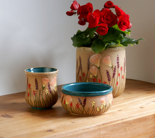 Stoneware Kitchen Utensil Holder or Planter, California Wildflowers Collection, Handmade Pottery Home Decor
