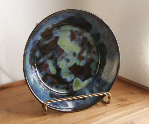 Handmade Plate in Aurora Borealis, Milky Way Galaxy Glaze, Deep Pasta, Salad, or Serving Dish