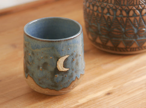 10 oz. Stoneware Cup, Desert Sky with Crescent Moon, Blue