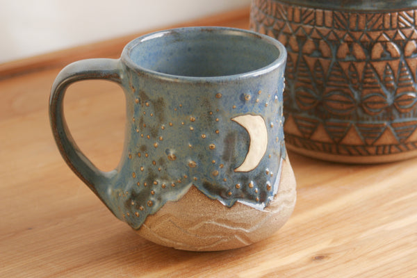 Handmade Starry Sky Mug in Pacific Ocean Blue, Crescent Moon