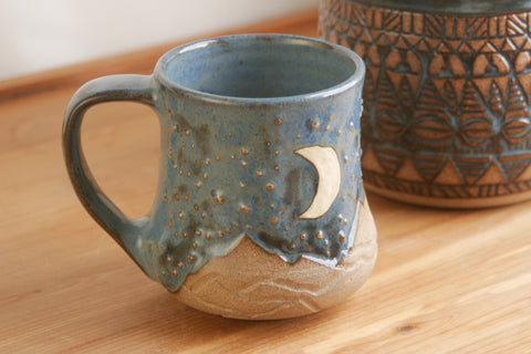 14 oz. Denim Blue Mug, Desert Sky with Mountains, Stars, Crescent Moon, Handmade Stoneware