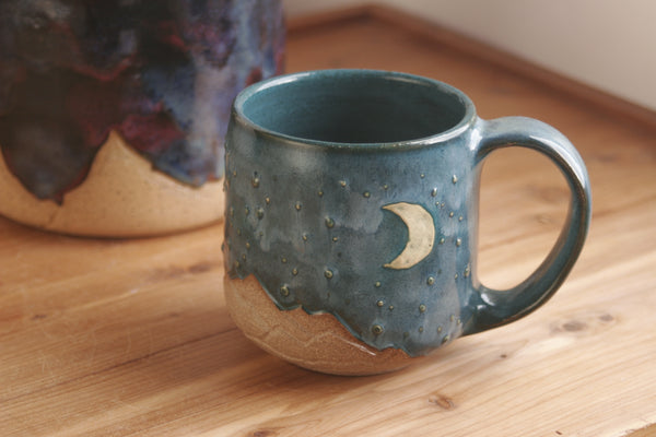 Teal Starry Sky Mug, Handmade Moon and Stars Cup, Wheel Thrown Pottery