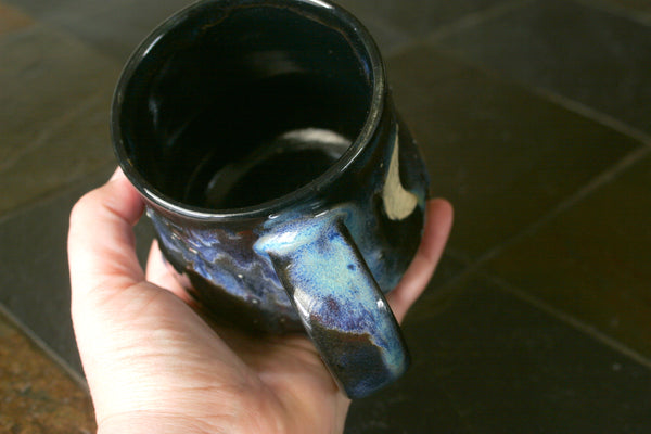 Potbelly Stoneware Mug in Aurora Glaze, with Crescent Moon