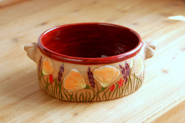 Stoneware Oval Dish in Deep Red, 16 oz. Poppy Bowl, California Wildflowers Collection, Handcarved Pottery