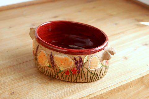 Oval Dish, California Wildflowers Poppy Bowl, Red