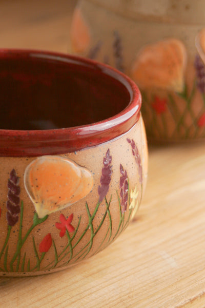 Stoneware Bowl in Deep Red, 20 oz. Poppy Dish, California Wildflowers Collection, Handcarved Pottery