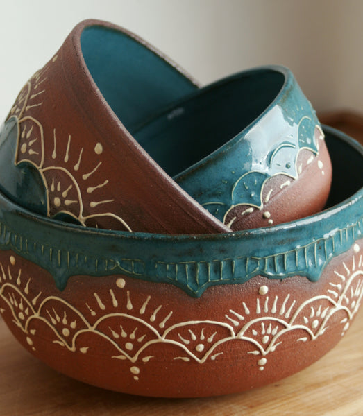 Moroccan Nested Stoneware Mixing Bowl Set, Teal, Handmade Pottery