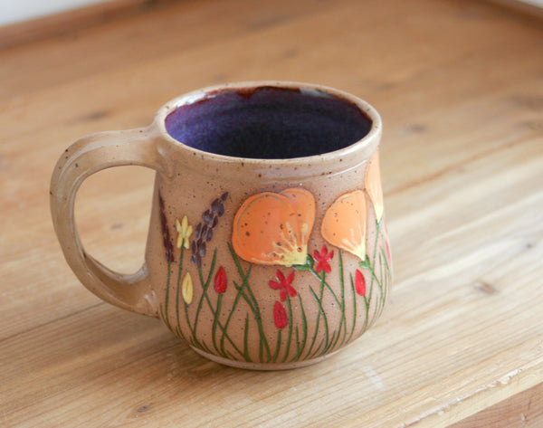 California Wildflowers Collection Mug, Purple, Handmade Stoneware Coffee Mug, Stoneware Poppies