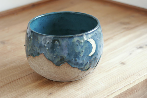 Starscape Small Bowl in Teal, Landscape Pottery, Handmade Ceramics