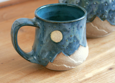 Starscape Mug in Teal, 8-10 oz., Landscape Pottery, Handmade Ceramics