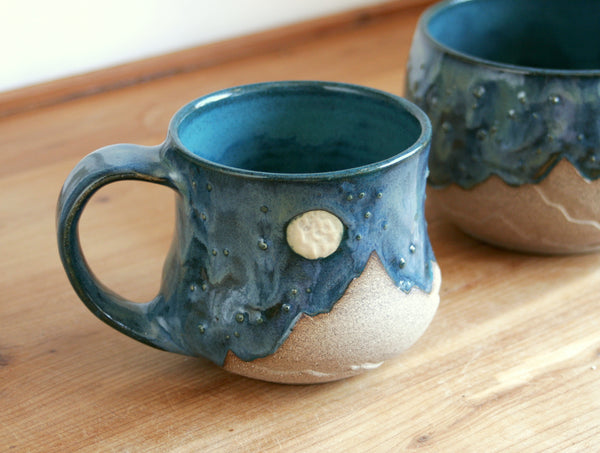 Starscape Mug in Teal, 12-14 oz. Landscape Pottery, Handmade Ceramics