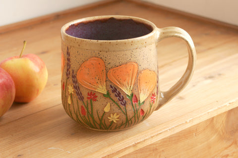 Extra Large Purple Teacup, California Wildflowers, 16-20 oz.