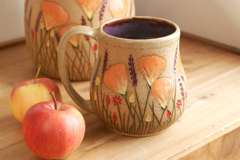 California Wildflowers Extra Large Potbelly Mug, Purple, 20-24 oz. Handmade Stoneware Coffee Mug