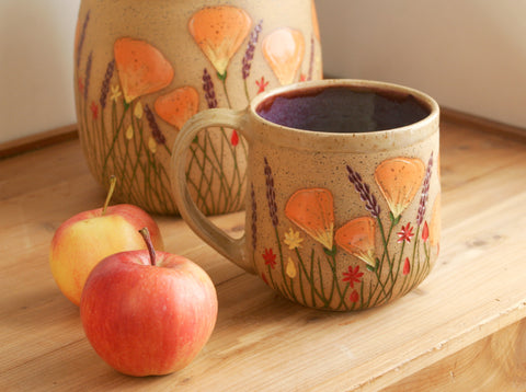 Purple California Wildflowers Teacup 16 oz. Stoneware