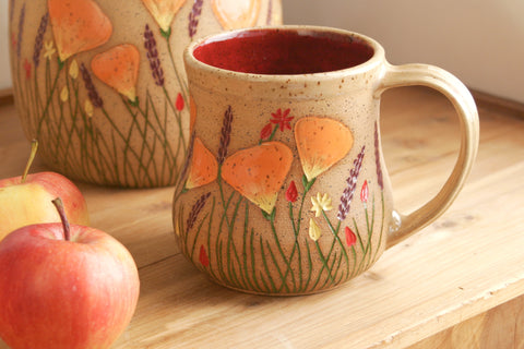 California Wildflowers Large Curvy Mug, Red, 16-20 oz. Handmade Stoneware Coffee Mug